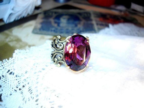 Regal Plum - Swarovski Crystal - Vintage Estate Rhinestone Cocktail Ring. Adjustable