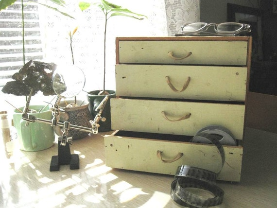 Wood Box Drawers Vintage Primitive handmade painted  with shoelace handles