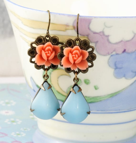 Coral Flower Jewel Earrings