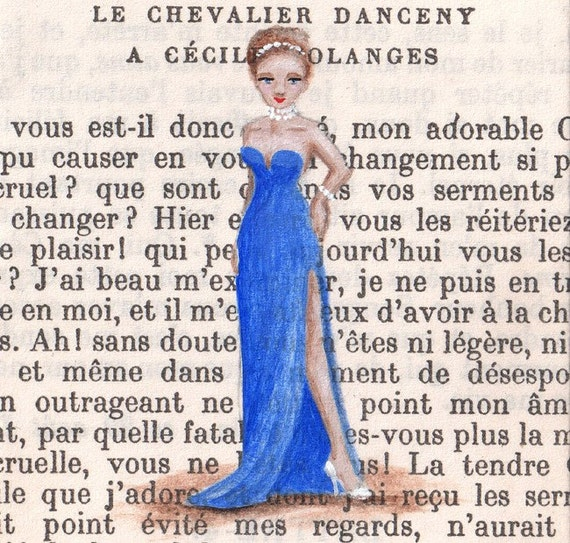 Original ACEO painting - Paris, 1953 - It Had To Be Said...Diamonds Are A Girl's Best Friend
