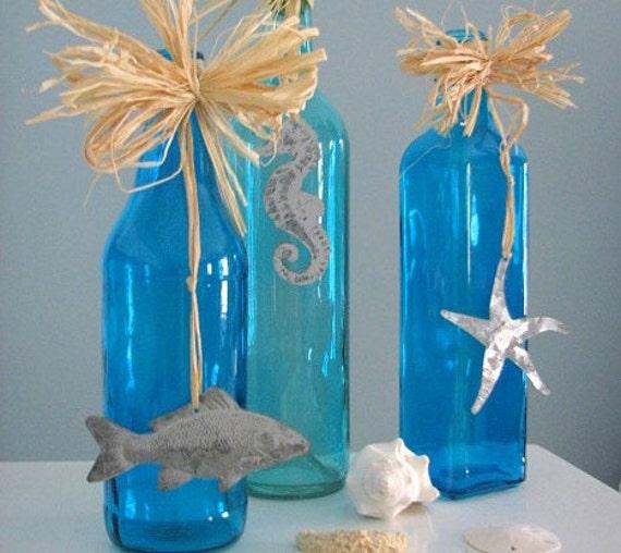 Пляж Декор Декоративные бутылки - Морской Декор Аква Бирюзовый Бутылки ш Морская звезда, 3шт