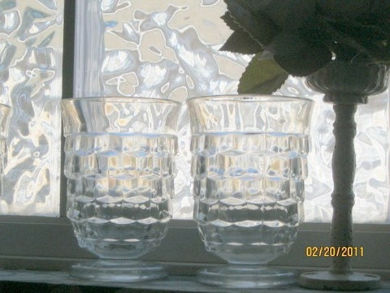 American Pattern, Footed Juice Glasses Tumblers, set of 4