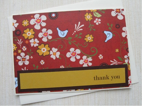 Personalized Floral Note Cards- Personalized- Set of 5