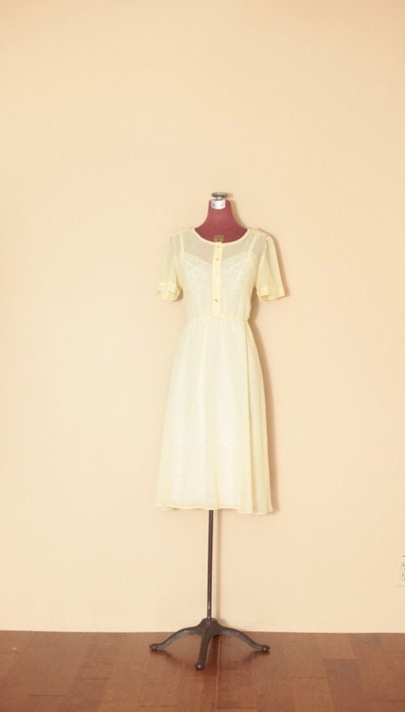 Vintage Pale Yellow Dotted Picnic Dress