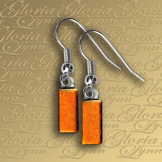Itty Bitty Orange Fused Dichroic Glass Drop Earrings ER406