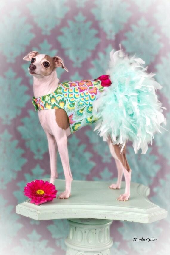 Винтаж Mint перо Harness собак платье