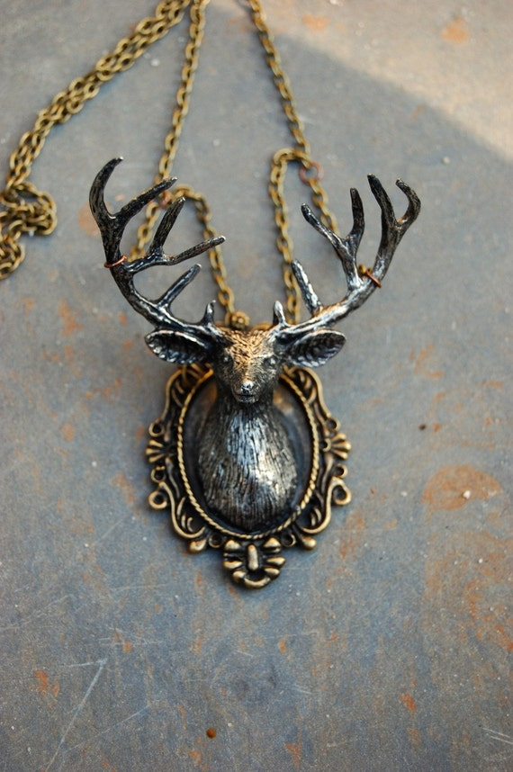 Woodland Fantasy Whimsical Mounted Cameo Deer Necklace
