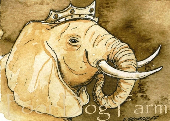 ACEO signed PRINT -  Sepia Elephant King