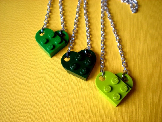 Go Green Lego Heart Necklace