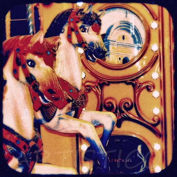 Original fine art ttv photograph on canvas vintage colors old Carousel print large cotton canvas poster NO15 by artistico Handmade Wall Decor