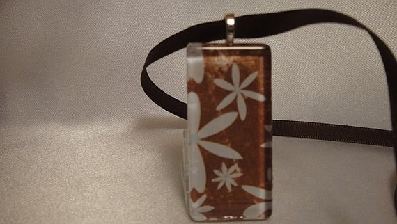 Brown with Blue Flowers glass Tile Pendant Necklace