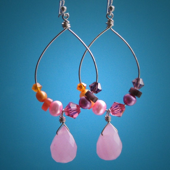 Rainbow Bright, Handmade Sterling Silver Hoop Earrings, Pink Jade Briolette, Freshwater Pearls, Swarovski Crystals