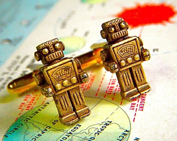 Toy Robot Cufflinks BRASS Plated Metal Miniatures Retro Science Fiction Steampunk Cuff Links - ORIGINAL DESIGN from Cosmic Firefly Las Vegas