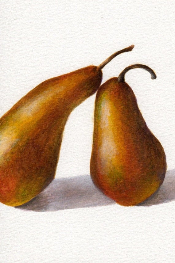 Pear Painting Original Art Small Format Still Life 6x4