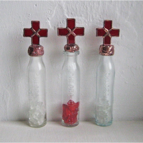 Pharmacy - trio of stained glass decorated vintage French pharmacy bottles