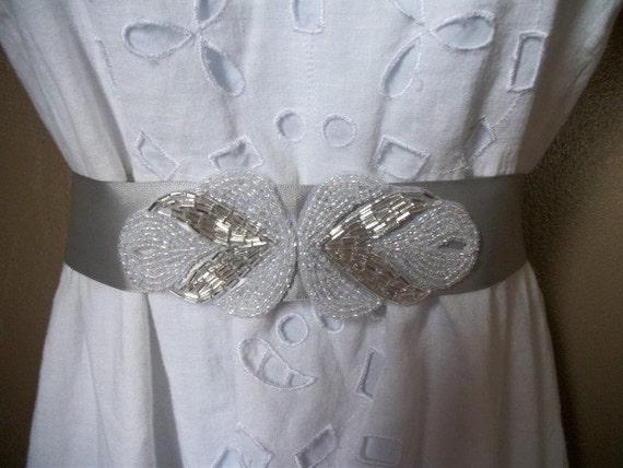 Beautiful Silver and White Beaded Bridal Sash