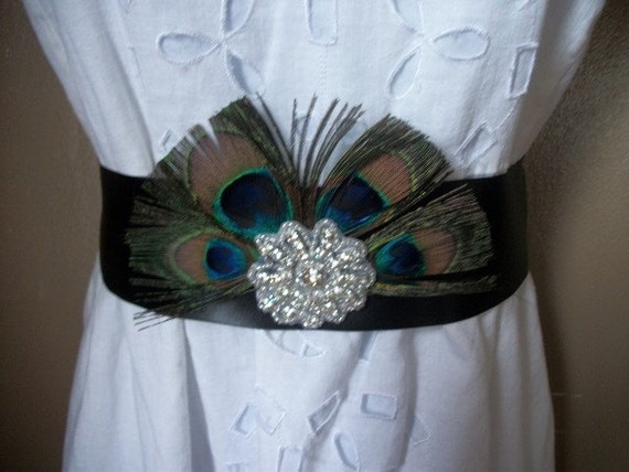 Beautiful Peacock and Rhinestone Sash With Black Ribbon
