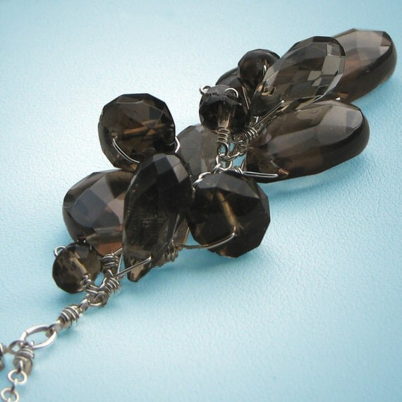 Smoke Siren, Fabulous Smokey Quartz Briolettes, Sterling Silver Necklace