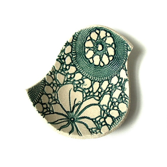 Lacy bird bowl in teal and cream stoneware ceramic