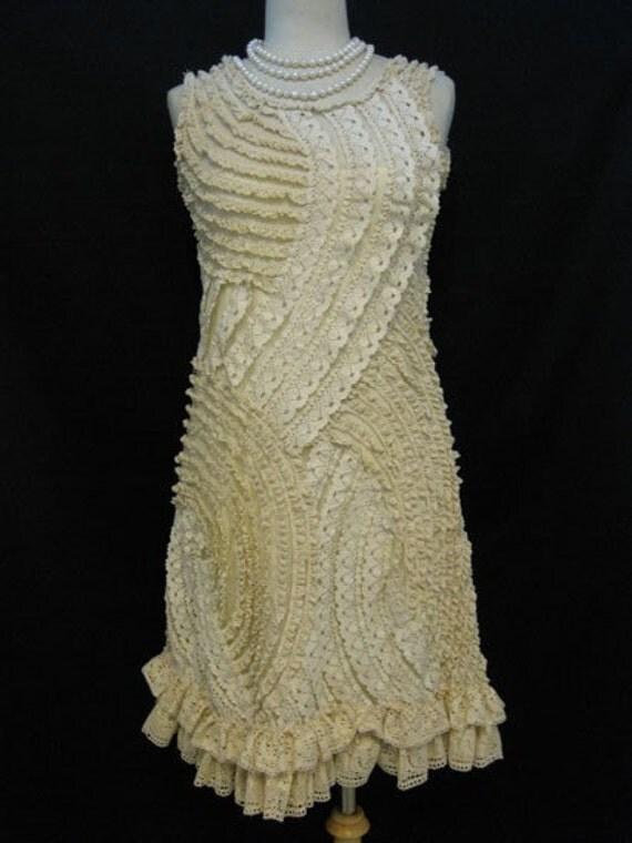 Custom Made Elegant Off White Embroidered Crochet Dress