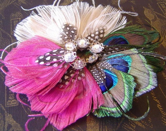 5 Sets Peacock and Guinea Feather & Rhinestone Wedding Party Shoe Clips and Hair Fascinators YOUR CHOICE of COLORS