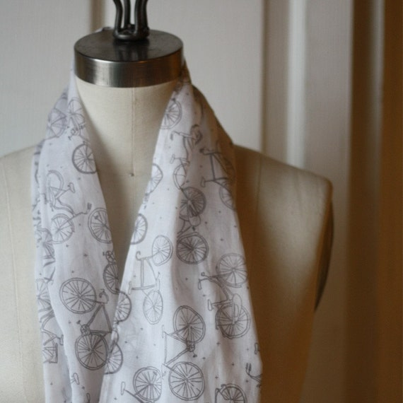organic cotton scarf with little bikes