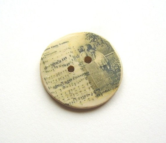 Love came calling, A handmade ceramic sew on button