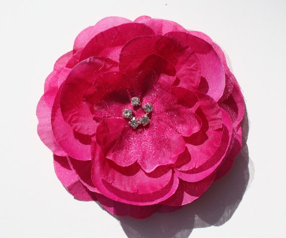 Fuchsia Boutique Layered Flower Hair Clip With Rhinestones