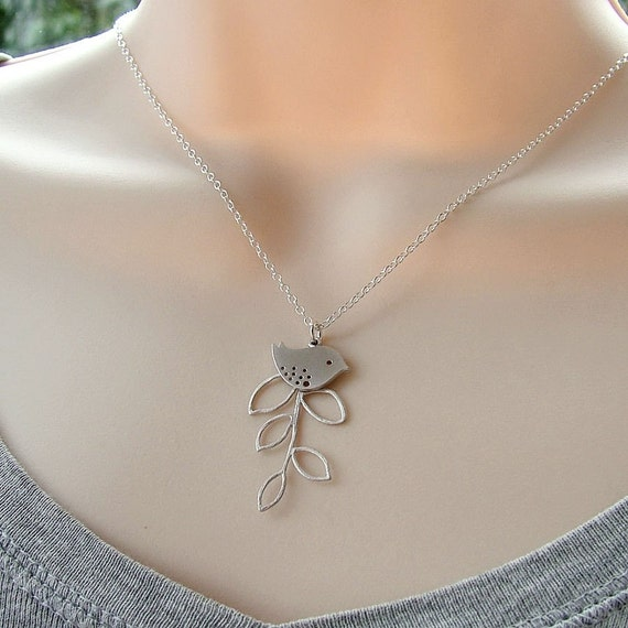 Little Bird and Branch Necklace Sterling Silver