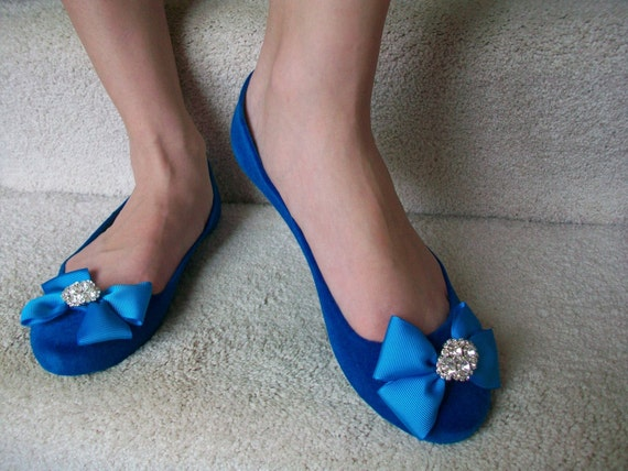 Beautiful Ballet Size 8  Blue Flats...Your Something Blue...Ready To Ship