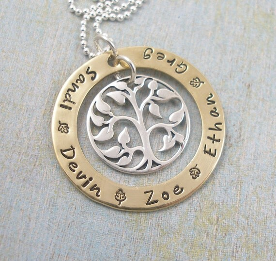 Golden Leaves...... Hand Stamped Brass Washer Necklace with Sterling Silver FamilyTree Charm