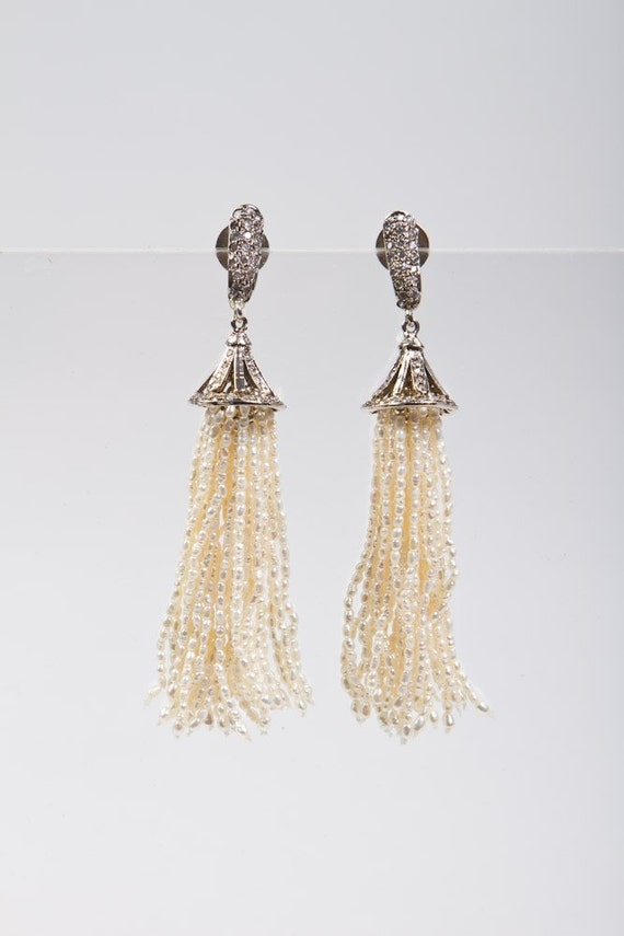 White Seed Pearl Tassel Earrings