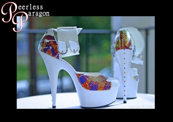 White 6 Inch High Heels with Rhinestone Phoenix Design