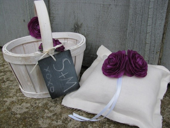 Woodland Outdoor Rustic Linen Wedding SET OF 2 MATCHING Ring Bearer Pillow and Flower Girl Basket with Personalized Chalkboard Tag You Customize Flowers Plum/Purple shown