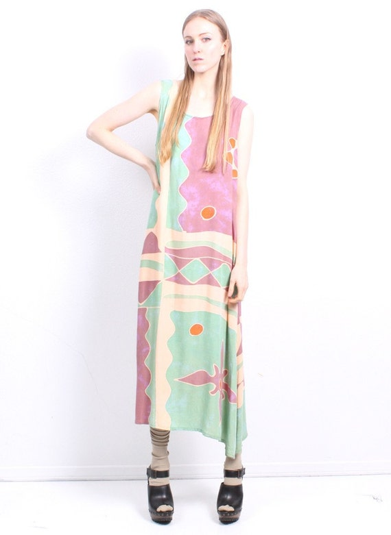 Abstract Seaside Maxi Dress