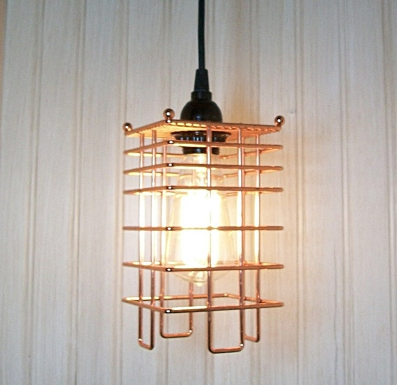 Industrial minimalist found object cage pendant lamp light copper