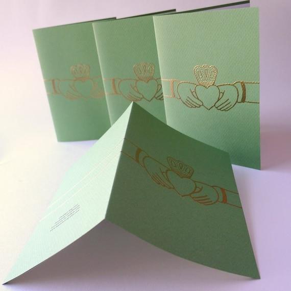 4 Green Claddagh Ring Irish Language Cards