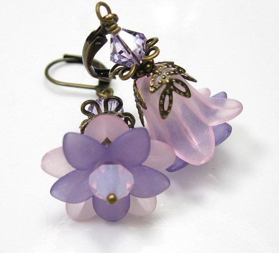 Violet Rose Opal Vintage Style Flower Earrings