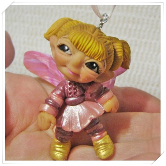 Chibi Fairy Figurine Polymer Clay Hand Made                         OOAK Cutie Hanging Ornament