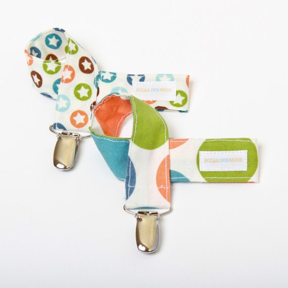 Boy or Girl Pacifier Clip Set in Riley Blake Orange, Green & Brown Stars and Dots-Set of 2