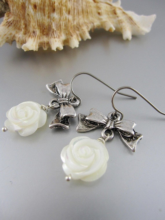 White Rose Earrings with Silver Bows. Modern. Romantic. Summer