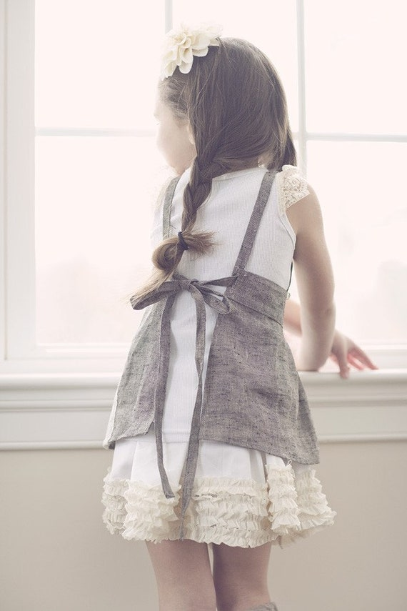Titania - Grey twill apron pinafore with vinatge crochet and lace detailing