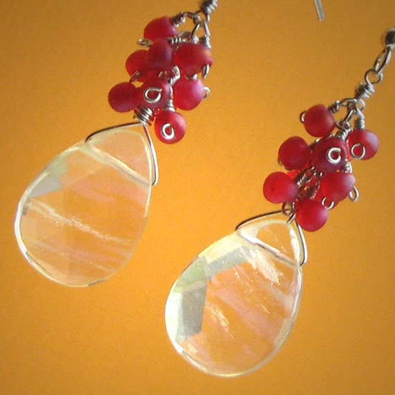 Lemon Drop Earrings, Fabulous Lemon Yellow Quartz Briolettes, Watermelon Pink Lucite, Sterling Silver