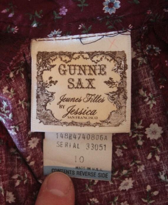 70 Vintage Floral Gunne Sax Jeunes Filles Vestido XXS Prairie