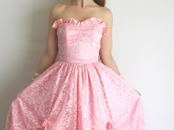 Vintage 1950s Handmade Pink Party Dress