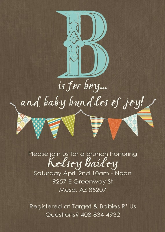 Baby boy shower invite with B is for boy, and banner, digital, printable file (item122)