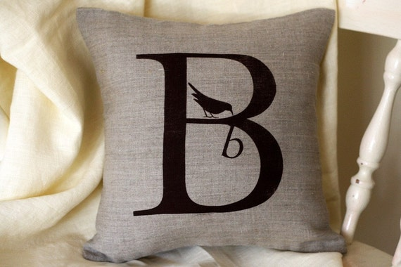 Alphabet Letter Throw Pillow B in Natural Linen 12x12