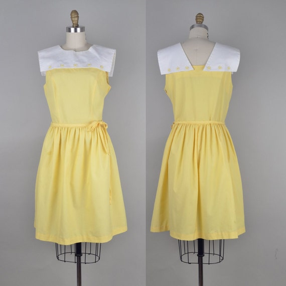 Vintage 1950s Yellow Sun Dress with White Sailor Collar