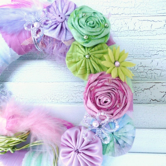 Spring Wreath with birds nest, Pastel fabric and Yarn with flowers