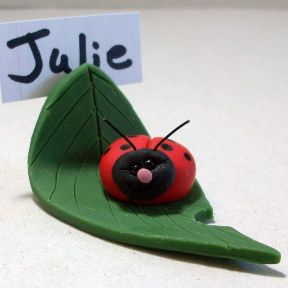Lady bug leaf place card holder